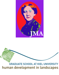 Logo of Johanna Mestorf Akademie (up) and the der Graduate School Human Development in Landscapes (down)